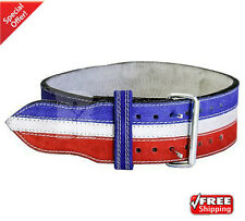 2Fit Nubuck Leather Weight Lifting Power Lifting Belt Back Support Blue+White S