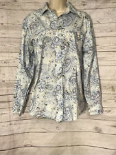 Panhandle Slim Blue Paisley Shirt Blouse Pearl Snap Front Long Sleeve Size Small