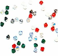 SCB3507 CHRISTMAS MIX Red Green Silver 4mm Bicone Swarovski Crystal Beads 48/pkg