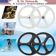 Fixed Gear 700c 17 Teeth Tri Spoke Rim Front Rear Fixie Single Speed Bike Wheels