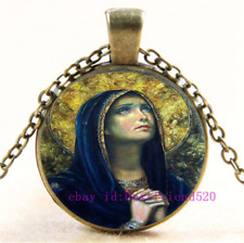 Cabochon Glass Chain Pendant Necklace Necklace Virgin Mary Photo Tibet Silver