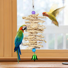 Parrot Bird Pet Toys Natural Wooden Grass Chewing Bite Cage Hanging Bell Swing