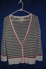 2350d99e6d Junior s Gray Cream Striped Cardigan Sweater Size M Pink Stitching