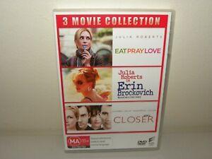 Eat Pray Love / Erin Brockovich / Closer - DVD - REGION 4 - VGC