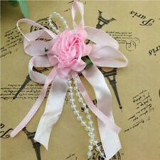 5/20/50pcs Big Satin Ribbon Flower Bows with Bead wedding Decoration Craft