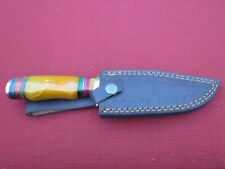 Large Damascus Bowie knife w orange bone handle & leather sheath