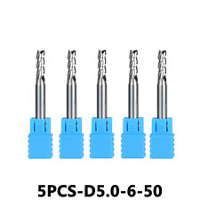 Solid Carbide End Mill Set 3-Flute 5mm Cutting Dia 6mm Shank Length 50mm 5Pcs