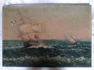 Tableau ancien huile sur toile marine bateau voiliers  Paysage marin