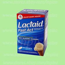 LACTAID 1 BOX x 96 CAPLETS FAST ACT LACTOSE ENZYME SUPPLEMENT INTOLERANT MILK