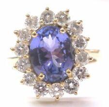 18Kt Gem Tanzanite Diamond Anniversary Yellow Gold Ring 3.54CT