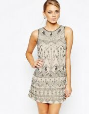 Oasis Deco Beaded Flapper Dress PALE GREY UK 14 RRP£120