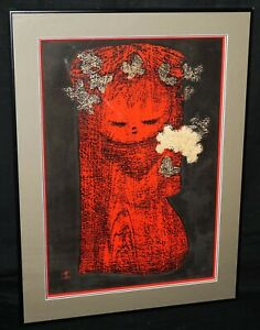 Japanese Woodblock Print Girl Butterflies & Flowers Kaoru Kawano (1916-65)(JeK)