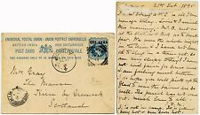 INDIA ULWUR 1895 UPU STATIONERY CARD SURCHARGE to SCOTLAND + MESSAGE re TRAIN