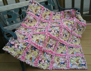 Beauty Belle and the Beast rag throw quilt handmade #101