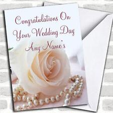 Beautiful Rose Pearls Wedding Day Customised Card