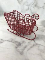 RED METAL SLEIGH CHRISTMAS Holiday Home Decor Xmas Decoration