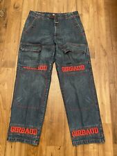 Vtg Marithe Francois Girbaud Jeans Mens Size 36x34 Blue Denim Red Embroidered