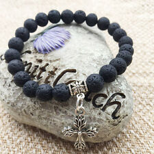 Handmade Natural Stone Lava Rock Buddha Beads Bracelet With Silver Cross Pendant