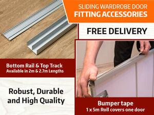 Sliding Wardrobe Accessories: Aluminium Quality Track and Rail | Bumper Tape