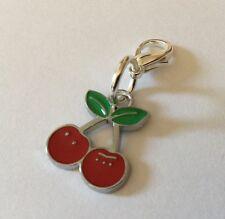 Red Cherries Zip Charm Cherry Handbag Bracelet Enamel Silver Kitsch Rockabilly