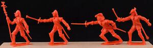 Cherilea Recasts - 4 English Civil War Figures - unpainted 60mm red plastic