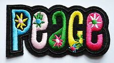"""Peace sign hippie retro boho flower power weed love iron on patch about 3.7""""×1."""""""