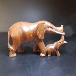Sculpture statue éléphant éléphanteau bois vintage ethnique 1942 Afrique N7671