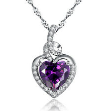 2.0 Ct Created Amethyst Heart Cut Pendant Necklace 925 Sterling Silver w/ Chain