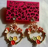 BETSEY JOHNSON MULTI-COLOR BUTTERFLY & FLOWERS DANGLE CRYSTAL EARRINGS NWT