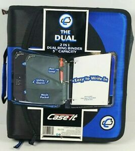 "Case-it ""Dual 2-in-1 Zipper D-Ring Binder 3"" Capacity 1.5"" D Ring Binders (Blue)"