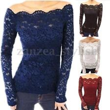 2017 Women Lace Crochet Floral Sheer Long Sleeve Off Shoulder Top Blouse T-Shirt