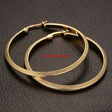 High Quality Womens Lady Gold 316L Stainless Steel 45mm Round Hoop Earring Studs