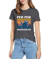 Cat Pew Pew Madafakas Cat Gangster Women Mens Cotton Funny Shirt Tops Gift