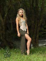 Maxi Split Goddess Skirt, Boho Festival Rave Bohemian Elven Fairy Sexy Pixie Goa
