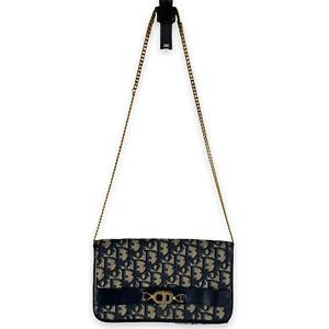 Vintage CHRISTIAN DIOR Navy Blue Logo Print Canvas Gold Chain Shoulder Bag Purse