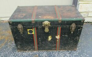 Antique Black Metal & Wood Travel Storage Steamer Chest Trunk table top Sweden
