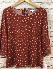Lauren Conrad Shirt Top Womens XL Bell Sleeve Maroon Floral 3/4 A11