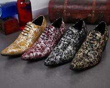 Mens Leather Pointy Toe Casual Shoes Cuban Heel Lace Up Nightclub Dress Formal