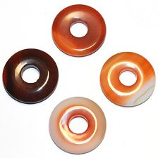 P551f Red Agate 25mm Flat Puffed Round Open Donut Focal Pendant Bead 1pc