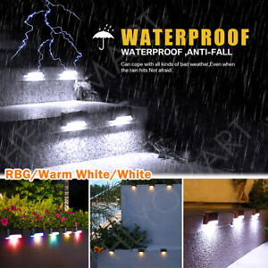 12 pcs LED Solar Powered Fence Wall Lights Garden Lamp Step Path Decking Outdoor