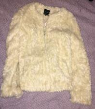 Abrigo de piel sintética blanco crema, talla 12, nuevo look nuevo con etiquetas