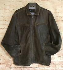 Alberto Zimni Signature Mens Brown 100% Leather Coat Distressed Jacket 4X Large
