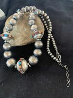 Turquoise Coral Native Am Navajo Pearls Grad Sterling Silver Bead Necklace 1102