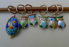 Stitch marker,  cloisonne beads, peacock and owl,  a set of 6