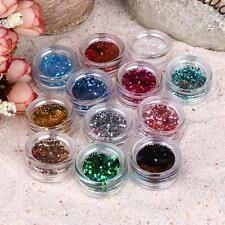 12Pcs Mix Colors Nail Art Paillette Sequins DIY Nail Tips Glitter Manicure Decor
