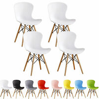 Eiffel DS Chairs x 4 Retro Ribbed Plastic White Black Grey Red Green Blue Pink