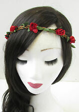 Red Rose Flower Hair Crown Headband Headdress Garland Vintage Boho Plaited V54