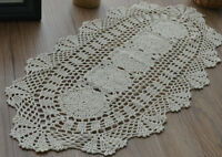 "28"" Oval Ecru Crochet Lace Doily French Country Floral Table Runner Wedding"
