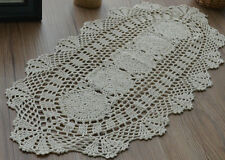 """28"""" Oval Ecru Crochet Lace Doily French Country Floral Table Runner Wedding"""