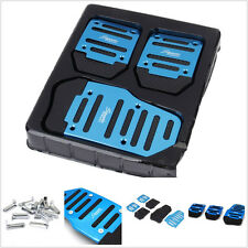 Blue 3 Pcs Nonslip Car Manual Accelerator Clutch Brake Foot Pedal Set Treadle